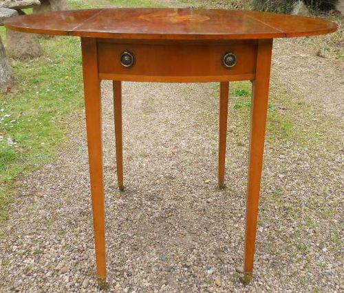 Yew  Dropleaf Oval Pembroke Table